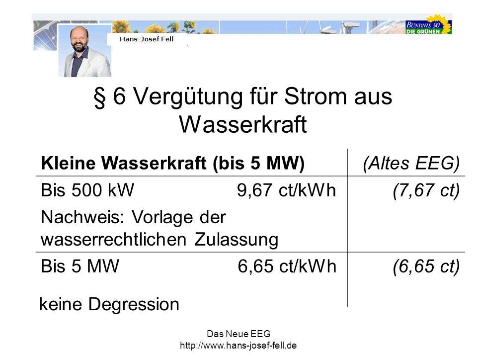 Das Neue EEG http://www.hans-josef-fell.de Große Wasserkraft 5MW bis 150 MW Bis 31.12.2012 Vergütung bei Leistungserhöhung um bis500kW7,67 ct/kWh bis10 MW6,65 ct/kWh bis20 MW6,10 ct/kWh bis50 MW4,56 ct/kWh ab50 MW3,70 ct/kWh Degression jährl.
