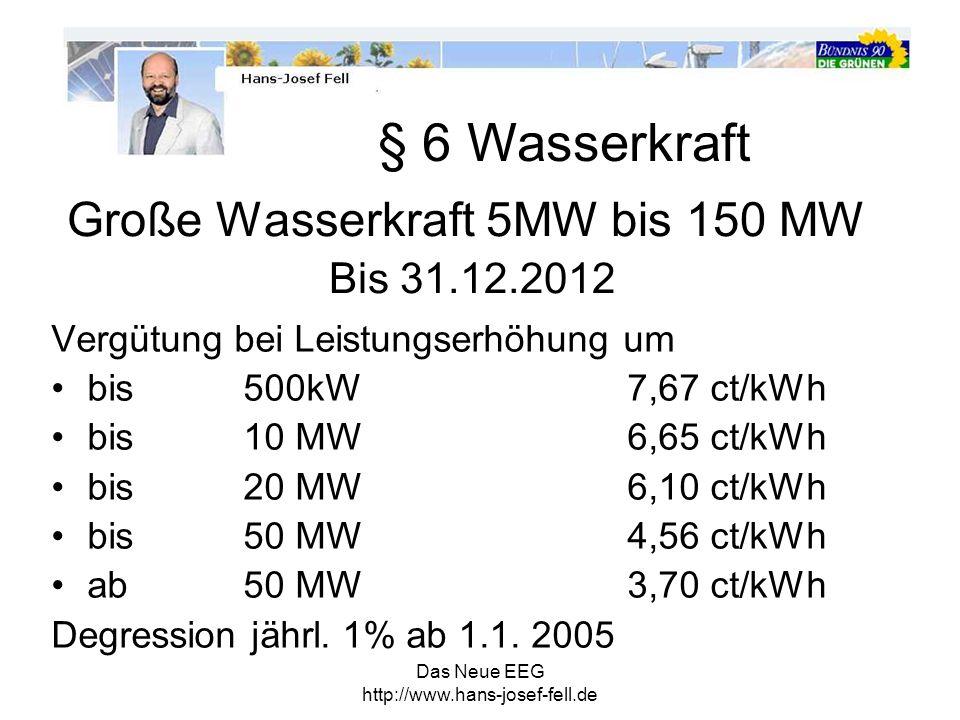 Das Neue EEG http://www.hans-josef-fell.de §12 Gemeinsame Vorschriften für Übernahme, Übertragung und Vergütung - Vergütungsdauer: generell20 Jahre Wasserkraft 5 MW 30 Jahre Wasserkraft >5 MW 15 Jahre § 13 Netzkosten - Anschlusskosten trägt der Anlagenbetreiber - Netzaubaukosten trägt Netzbetreiber -> Umlage