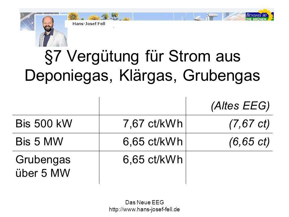 Das Neue EEG http://www.hans-josef-fell.de §7 Vergütung für Strom aus Deponiegas, Klärgas, Grubengas (Altes EEG) Bis 500 kW7,67 ct/kWh(7,67 ct) Bis 5