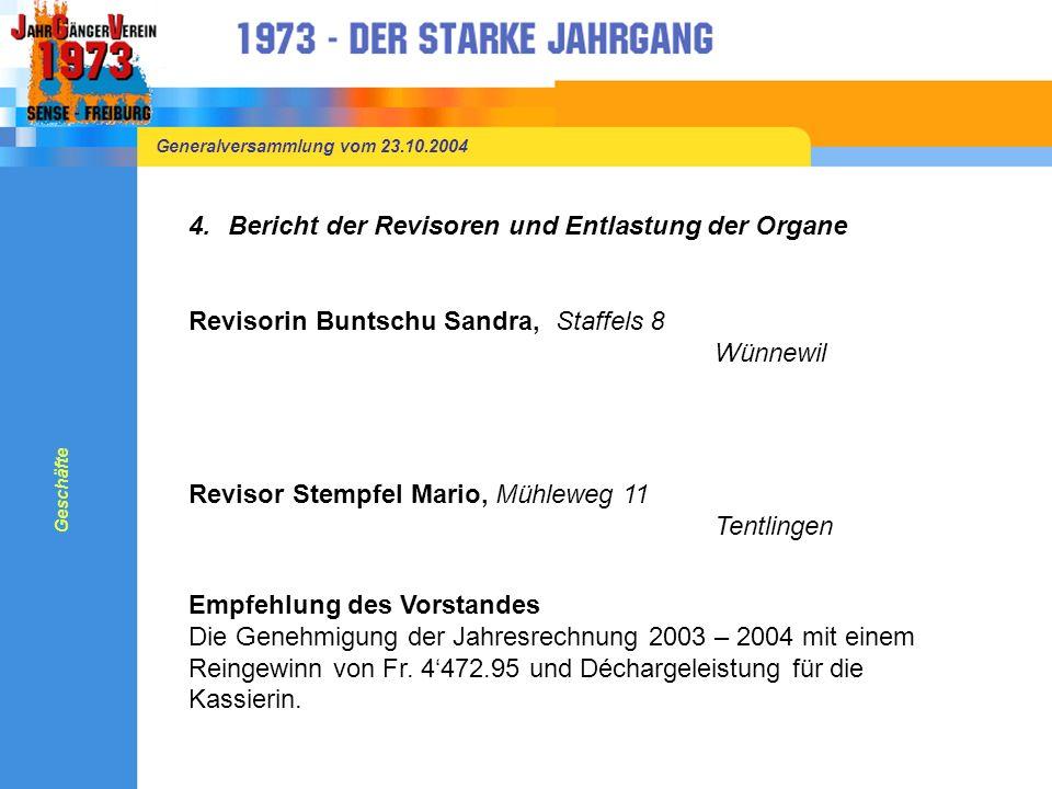 Generalversammlung vom 23.10.2004 3.Jahresrechnung 2003 – 2004 Aufwand 2003 / 2004Fr.
