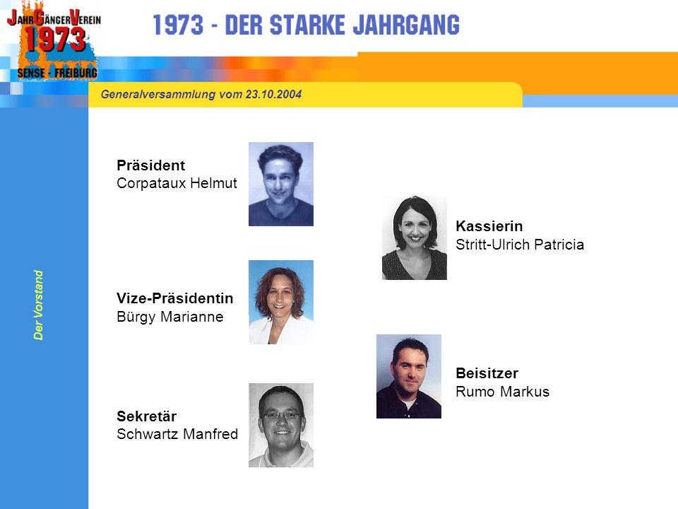 Generalversammlung vom 23.10.2004 Herzlich Willkommen Der Vorstand begrüsst euch