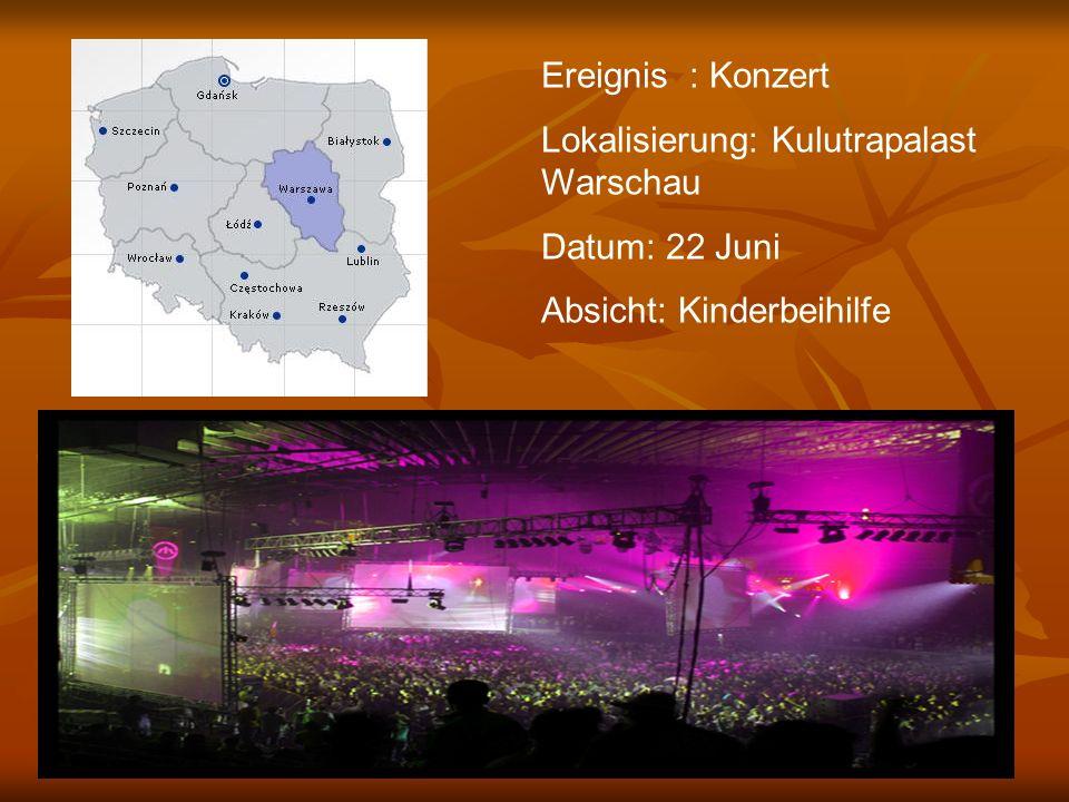 Ereignis : Konzert Lokalisierung: Kulutrapalast Warschau Datum: 22 Juni Absicht: Kinderbeihilfe