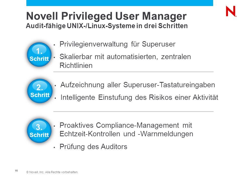 © Novell, Inc. Alle Rechte vorbehalten. 11 Novell Privileged User Manager Audit-fähige UNIX-/Linux-Systeme in drei Schritten Aufzeichnung aller Superu