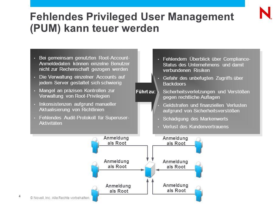 © Novell, Inc. Alle Rechte vorbehalten. 4 Fehlendes Privileged User Management (PUM) kann teuer werden Fehlendem Überblick über Compliance- Status des