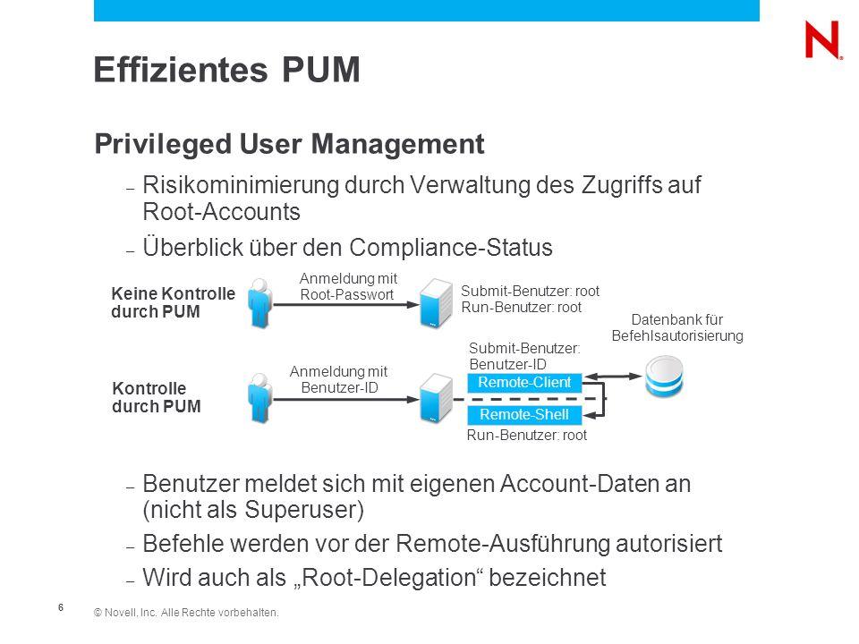© Novell, Inc. Alle Rechte vorbehalten. 6 Effizientes PUM Privileged User Management – Risikominimierung durch Verwaltung des Zugriffs auf Root-Accoun