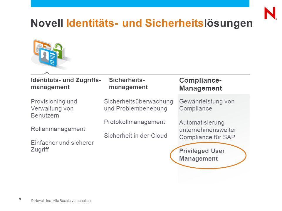 © Novell, Inc. Alle Rechte vorbehalten. 9 Novell Identitäts- und Sicherheitslösungen Provisioning und Verwaltung von Benutzern Rollenmanagement Einfac