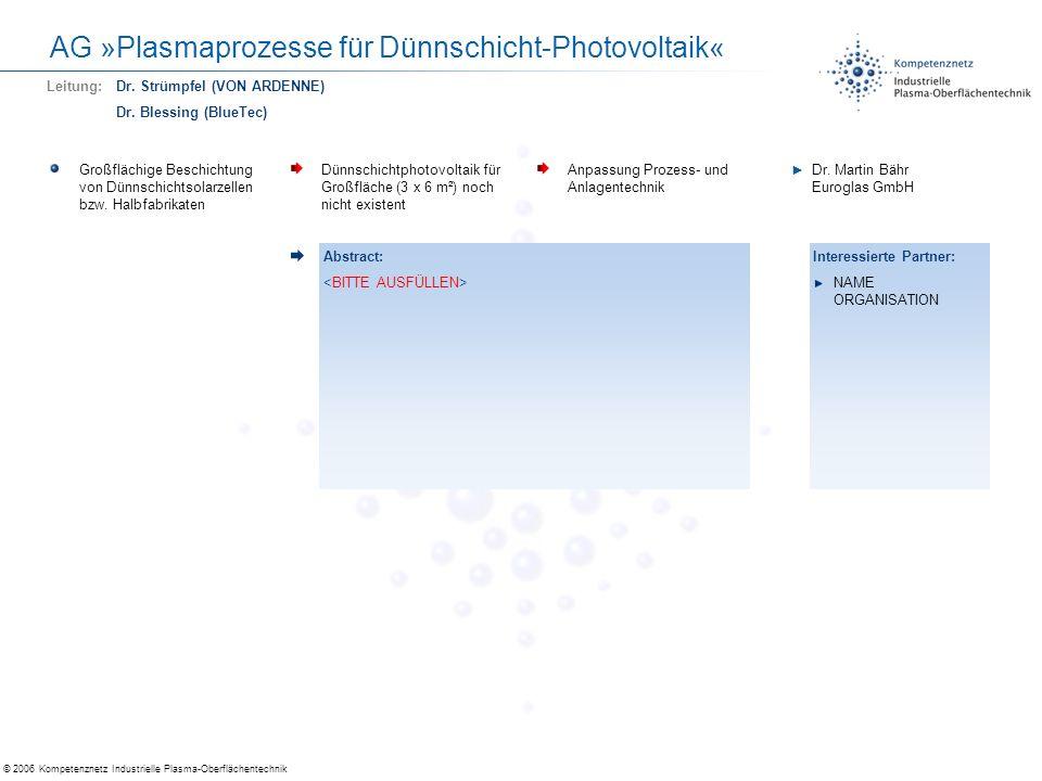 © 2006 Kompetenznetz Industrielle Plasma-Oberflächentechnik AG »Plasmaprozesse für Dünnschicht-Photovoltaik« Antireflex für Solar Verbesserung der Lichteinkopplung in PV-Module Vermeidung von HF-Ätzen (Nasschemie), Einsatz d.