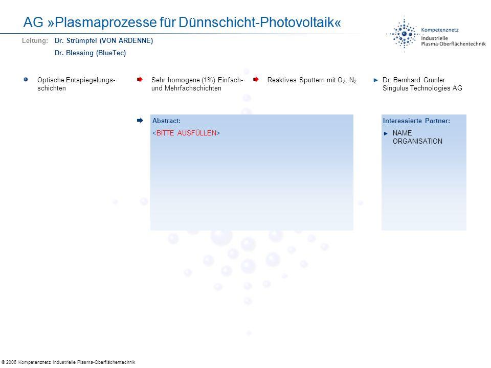© 2006 Kompetenznetz Industrielle Plasma-Oberflächentechnik AG »Plasmaprozesse für Dünnschicht-Photovoltaik« Optische Entspiegelungs- schichten Sehr h