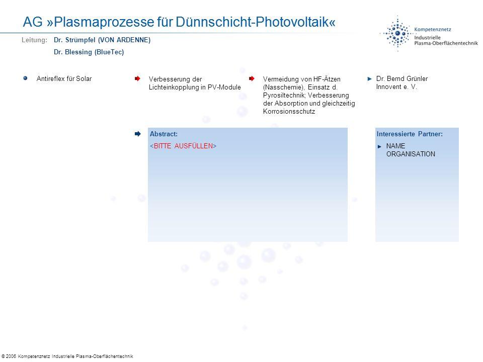 © 2006 Kompetenznetz Industrielle Plasma-Oberflächentechnik AG »Plasmaprozesse für Dünnschicht-Photovoltaik« Antireflex für Solar Verbesserung der Lic