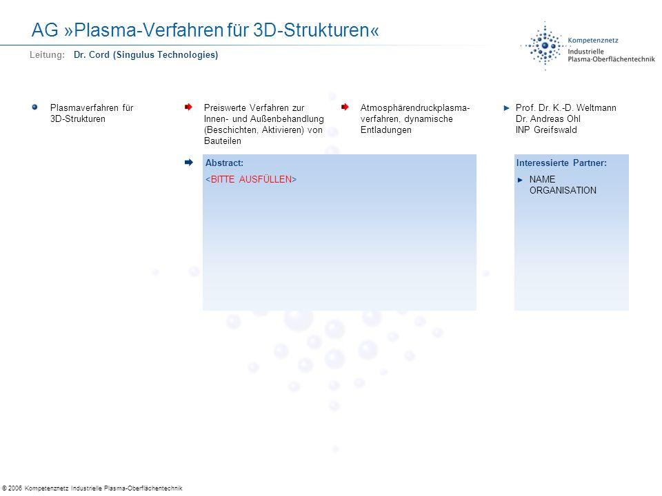 © 2006 Kompetenznetz Industrielle Plasma-Oberflächentechnik AG »Plasma-Verfahren für 3D-Strukturen« Plasmaverfahren für 3D-Strukturen Preiswerte Verfa