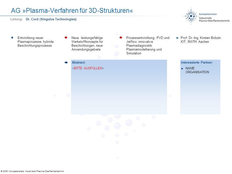 © 2006 Kompetenznetz Industrielle Plasma-Oberflächentechnik AG »Plasma-Verfahren für 3D-Strukturen« Entwicklung neuer Plasmaprozesse, hybride Beschich