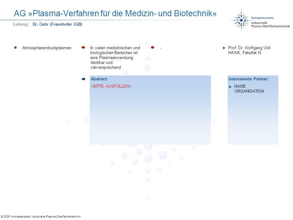 © 2006 Kompetenznetz Industrielle Plasma-Oberflächentechnik AG »Plasma-Verfahren für die Medizin- und Biotechnik« AtmosphärendruckplasmenIn vielen med