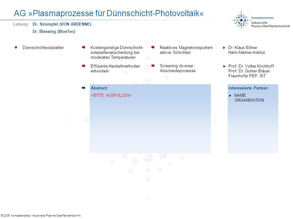 © 2006 Kompetenznetz Industrielle Plasma-Oberflächentechnik AG »Plasmaprozesse für Dünnschicht-Photovoltaik« Billig-TCOsErsatz von teurem ITO in Displays und Solarzellen Material- und Prozessentwicklung Prof.