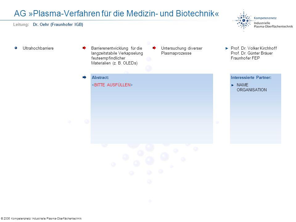 © 2006 Kompetenznetz Industrielle Plasma-Oberflächentechnik AG »Plasma-Verfahren für die Medizin- und Biotechnik« UltrahochbarriereBarrierenentwicklun