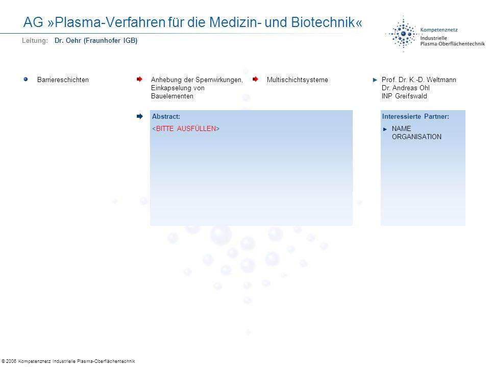 © 2006 Kompetenznetz Industrielle Plasma-Oberflächentechnik AG »Plasma-Verfahren für die Medizin- und Biotechnik« BarriereschichtenAnhebung der Sperrw