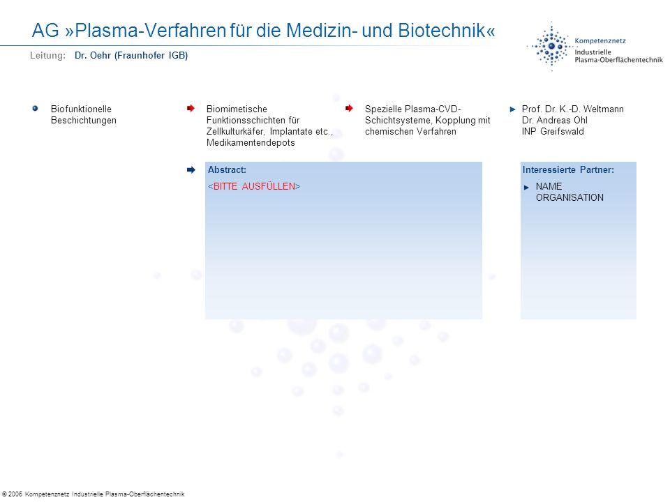 © 2006 Kompetenznetz Industrielle Plasma-Oberflächentechnik AG »Plasma-Verfahren für die Medizin- und Biotechnik« Biofunktionelle Beschichtungen Biomi