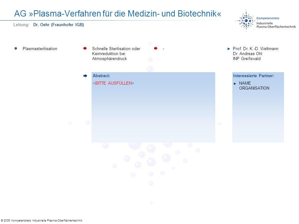 © 2006 Kompetenznetz Industrielle Plasma-Oberflächentechnik AG »Plasma-Verfahren für die Medizin- und Biotechnik« PlasmasterilisationSchnelle Sterilis