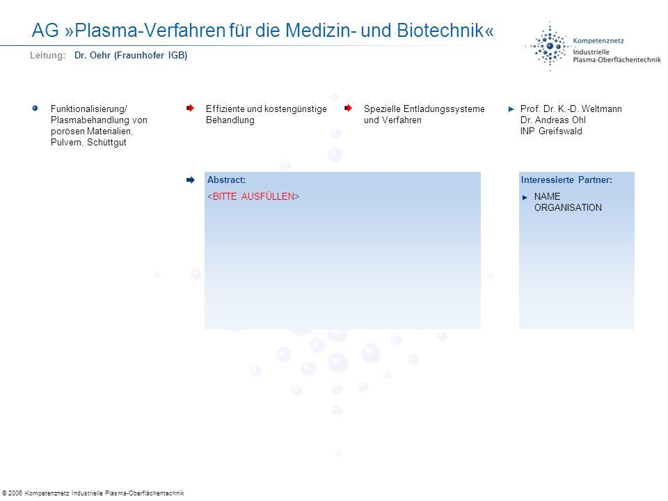 © 2006 Kompetenznetz Industrielle Plasma-Oberflächentechnik AG »Plasma-Verfahren für die Medizin- und Biotechnik« Funktionalisierung/ Plasmabehandlung