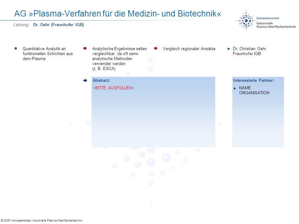 © 2006 Kompetenznetz Industrielle Plasma-Oberflächentechnik AG »Plasma-Verfahren für die Medizin- und Biotechnik« Quantitative Analytik an funktionell