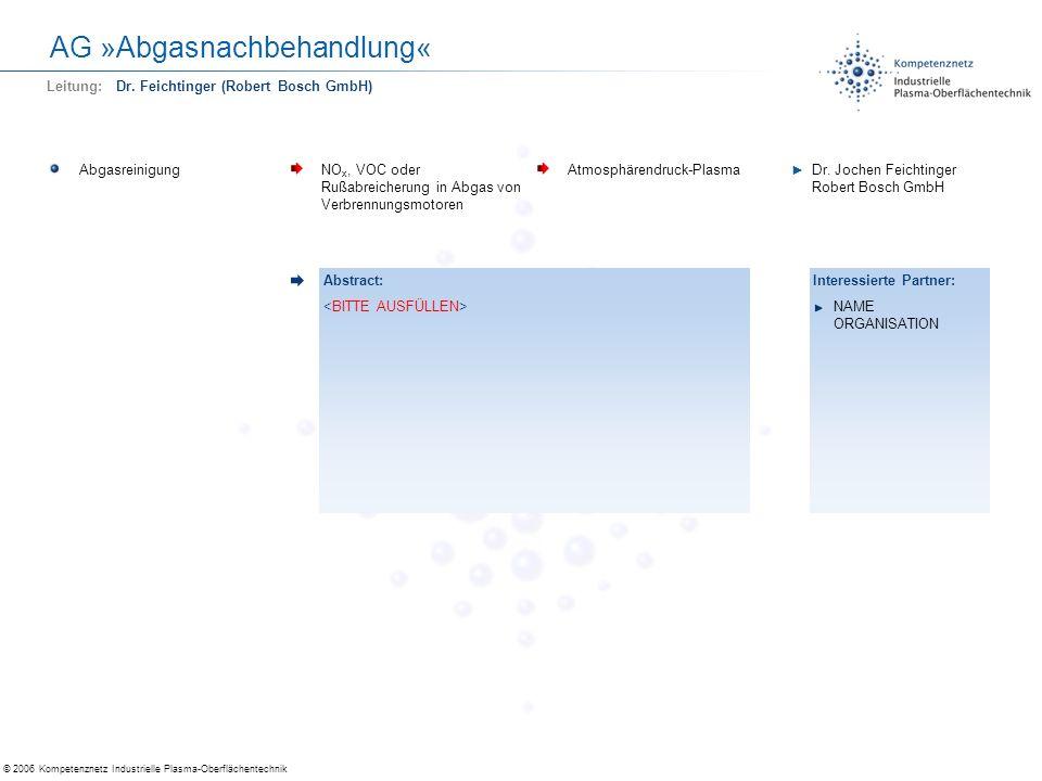 © 2006 Kompetenznetz Industrielle Plasma-Oberflächentechnik AG »Abgasnachbehandlung« AbgasreinigungNO x, VOC oder Rußabreicherung in Abgas von Verbren
