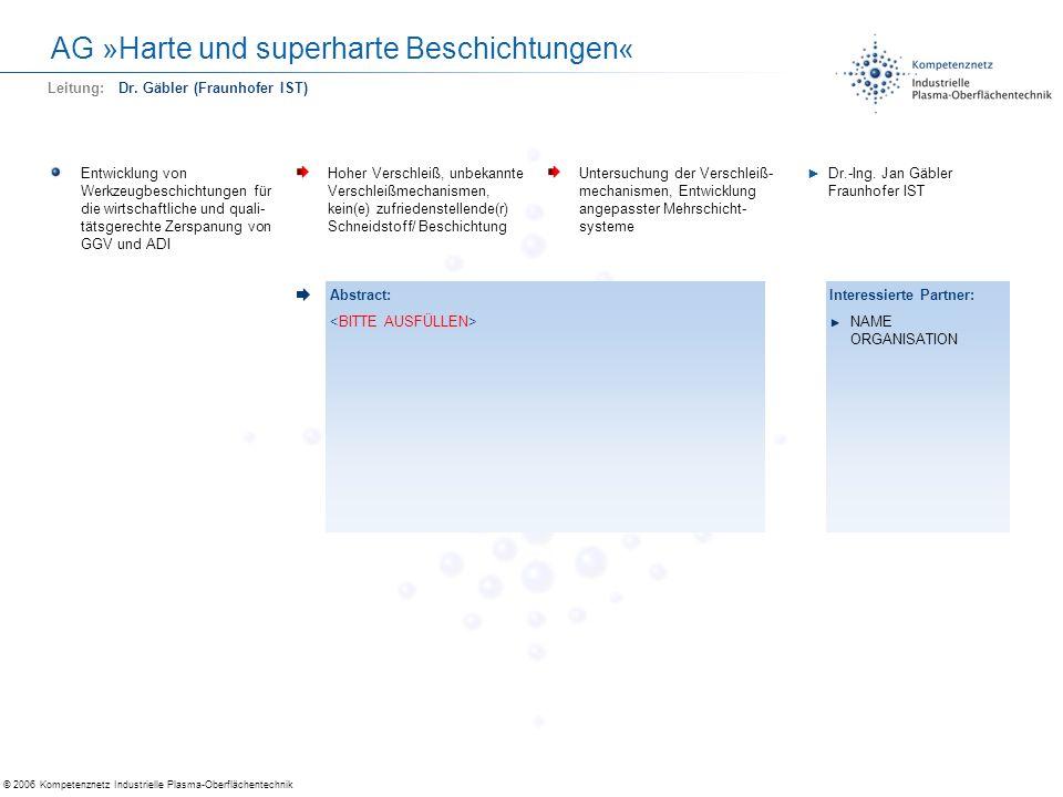 © 2006 Kompetenznetz Industrielle Plasma-Oberflächentechnik AG »Harte und superharte Beschichtungen« Entwicklung von Werkzeugbeschichtungen für die wi