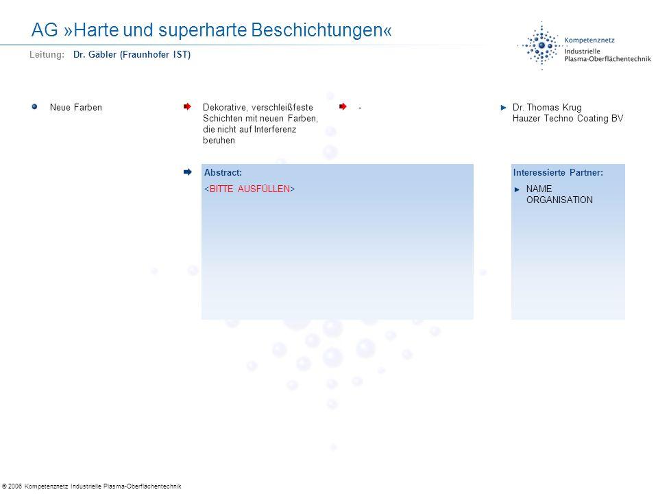 © 2006 Kompetenznetz Industrielle Plasma-Oberflächentechnik AG »Harte und superharte Beschichtungen« Neue FarbenDekorative, verschleißfeste Schichten
