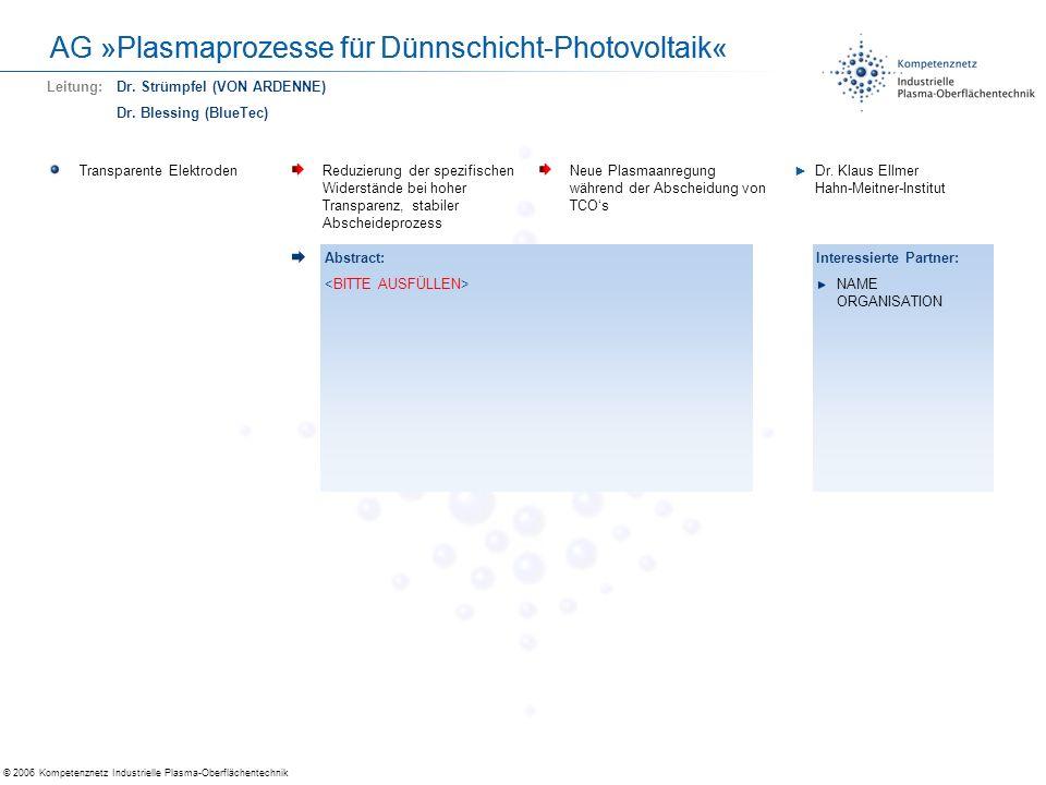 © 2006 Kompetenznetz Industrielle Plasma-Oberflächentechnik AG »Plasmaprozesse für Dünnschicht-Photovoltaik« Transparente ElektrodenReduzierung der sp