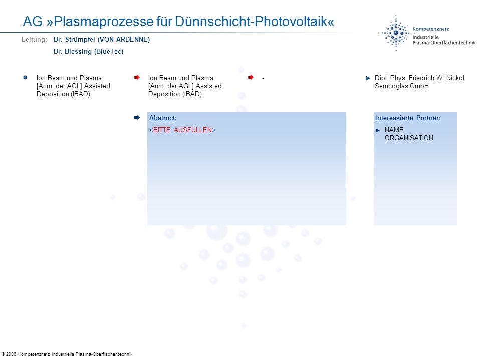 © 2006 Kompetenznetz Industrielle Plasma-Oberflächentechnik AG »Plasmaprozesse für Dünnschicht-Photovoltaik« Preisgünstige Inline-Messung an dünnen Schichten bzw.