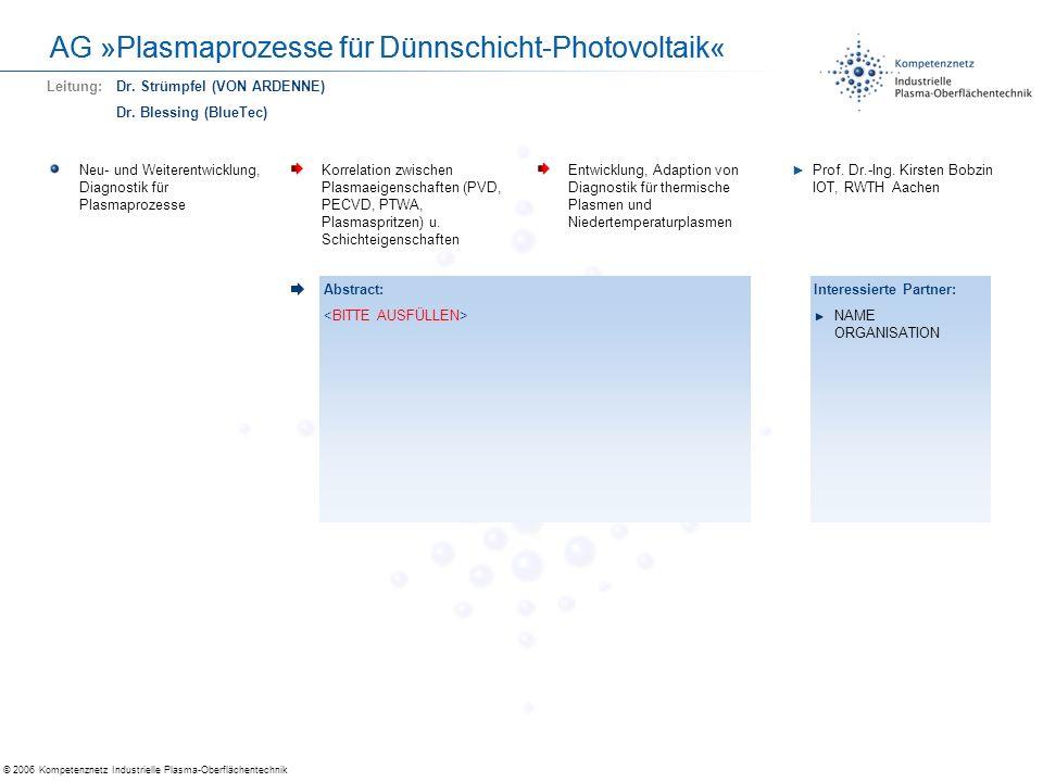© 2006 Kompetenznetz Industrielle Plasma-Oberflächentechnik AG »Plasmaprozesse für Dünnschicht-Photovoltaik« Selbstreinigende OberflächenRealisierung von selbstreinigenden Oberflächen Fortführung begonnener Material- und Prozessentwicklungen Prof.