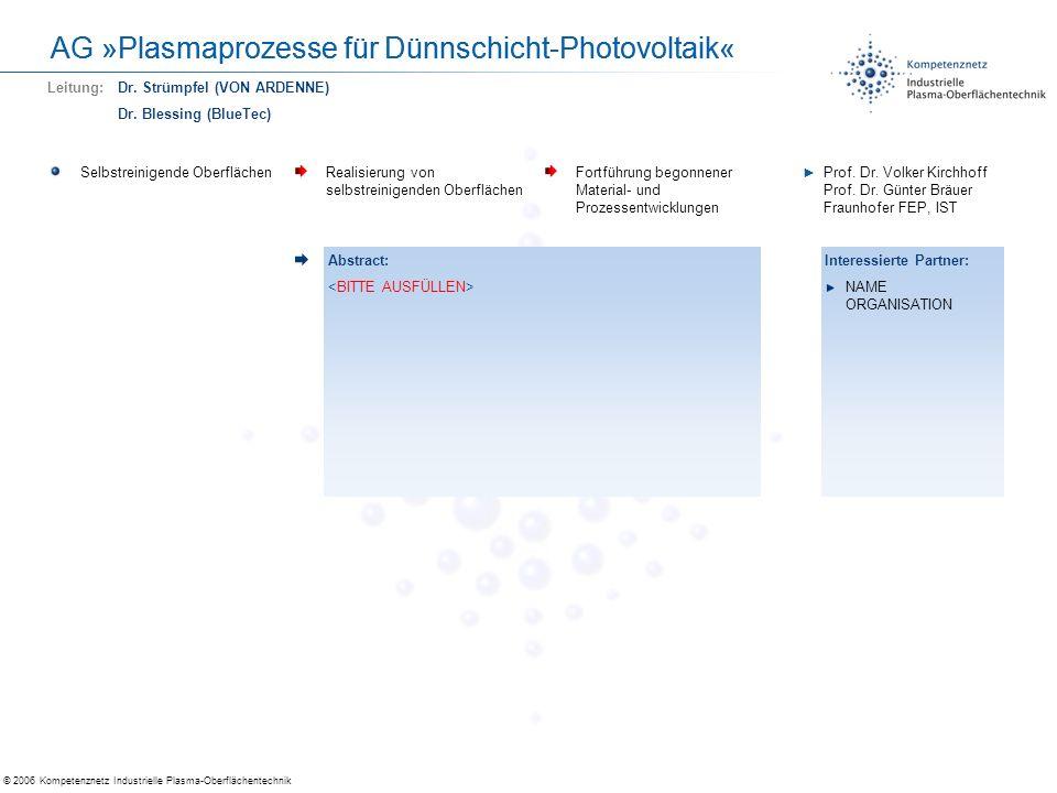 © 2006 Kompetenznetz Industrielle Plasma-Oberflächentechnik AG »Plasmaprozesse für Dünnschicht-Photovoltaik« Optische Entspiegelungs- schichten Sehr homogene (1%) Einfach- und Mehrfachschichten Reaktives Sputtern mit O 2, N 2 Dr.