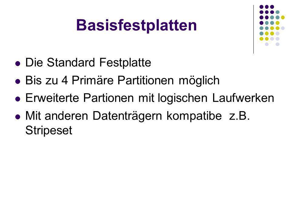 Basisfestplatten Die Standard Festplatte Bis zu 4 Primäre Partitionen möglich Erweiterte Partionen mit logischen Laufwerken Mit anderen Datenträgern kompatibe z.B.