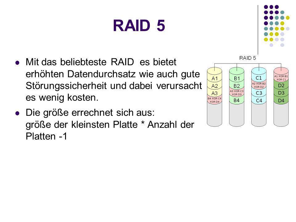 RAID 5 Mit das beliebteste RAID es bietet erhöhten Datendurchsatz wie auch gute Störungssicherheit und dabei verursacht es wenig kosten.