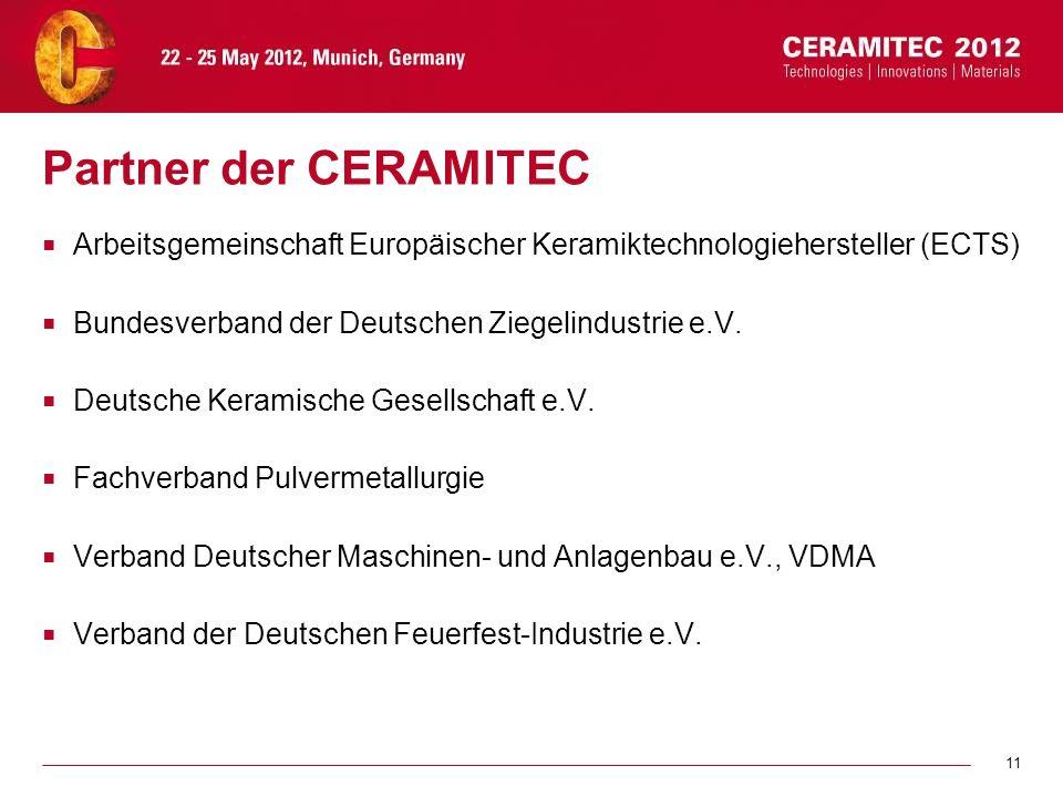 11 Partner der CERAMITEC Arbeitsgemeinschaft Europäischer Keramiktechnologiehersteller (ECTS) Bundesverband der Deutschen Ziegelindustrie e.V. Deutsch