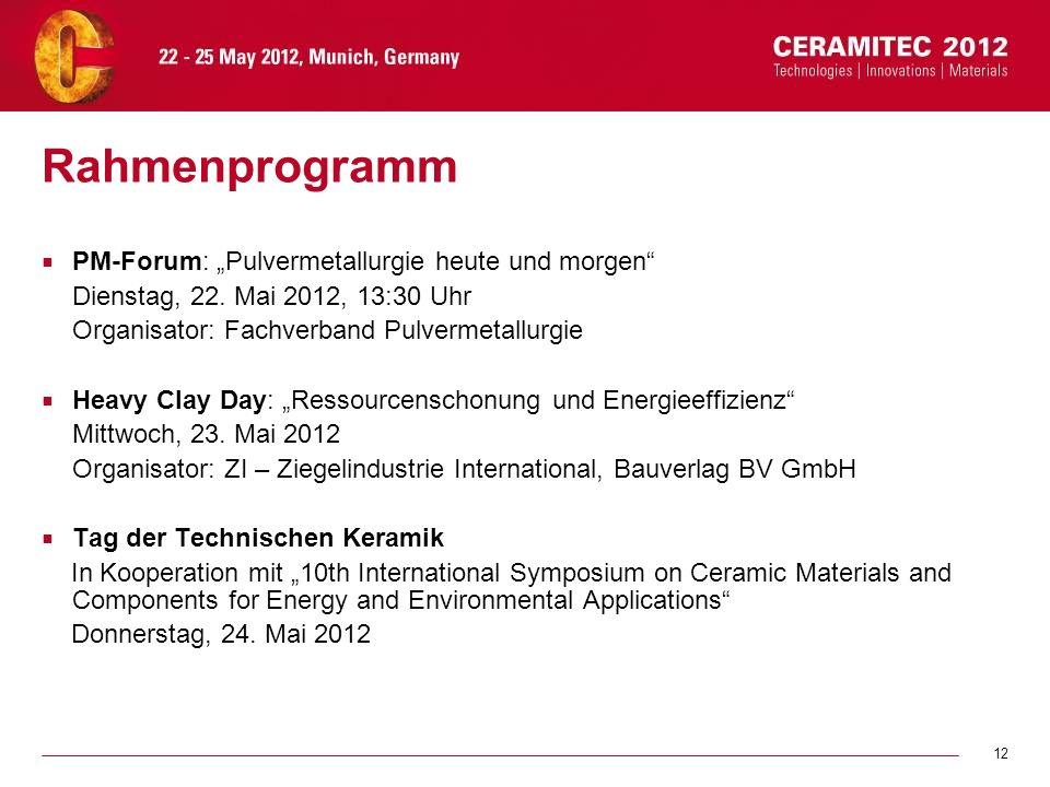 12 Rahmenprogramm PM-Forum: Pulvermetallurgie heute und morgen Dienstag, 22. Mai 2012, 13:30 Uhr Organisator: Fachverband Pulvermetallurgie Heavy Clay