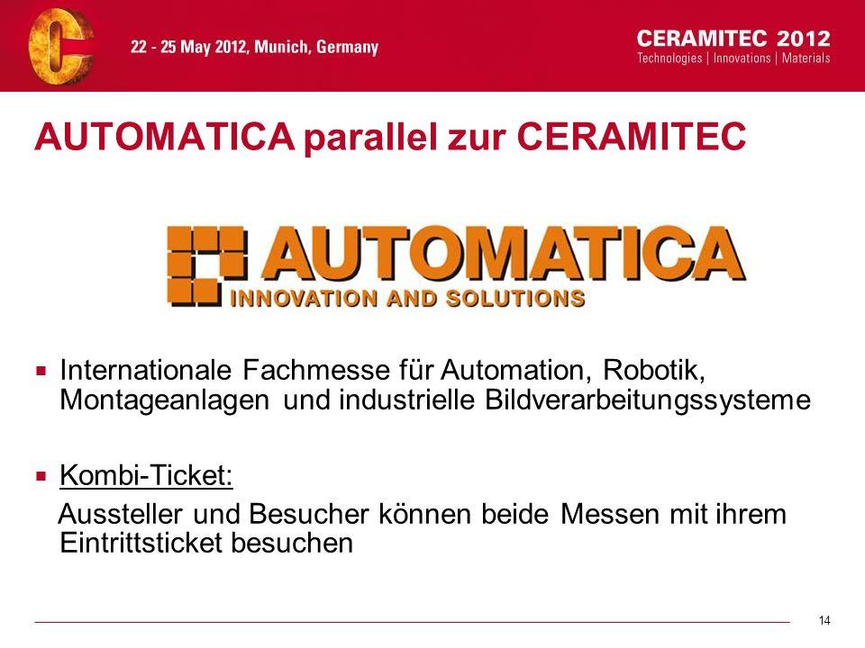 14 AUTOMATICA parallel zur CERAMITEC Internationale Fachmesse für Automation, Robotik, Montageanlagen und industrielle Bildverarbeitungssysteme Kombi-
