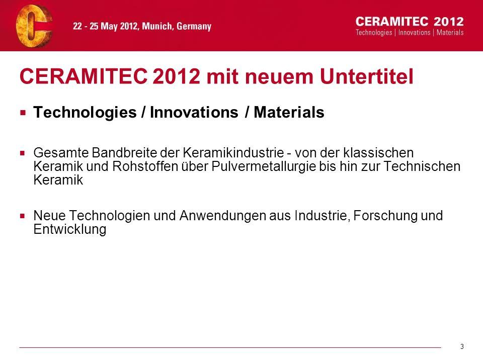 3 CERAMITEC 2012 mit neuem Untertitel Technologies / Innovations / Materials Gesamte Bandbreite der Keramikindustrie - von der klassischen Keramik und