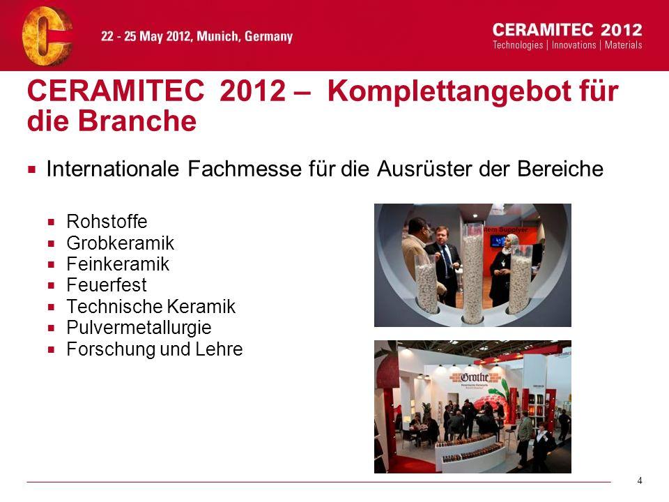 4 CERAMITEC 2012 – Komplettangebot für die Branche Internationale Fachmesse für die Ausrüster der Bereiche Rohstoffe Grobkeramik Feinkeramik Feuerfest