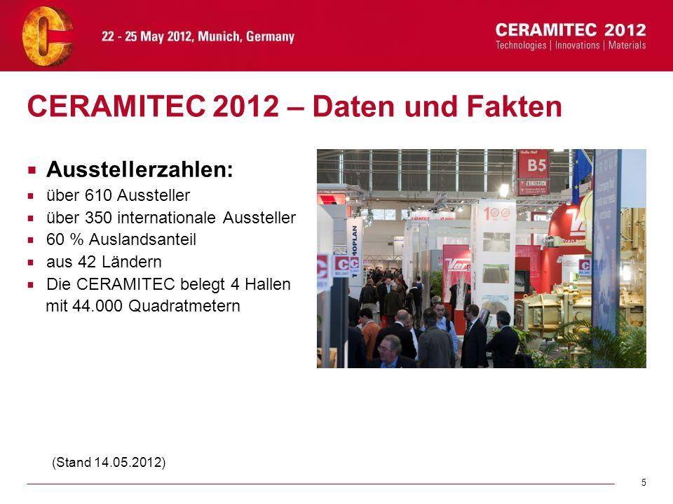 5 CERAMITEC 2012 – Daten und Fakten Ausstellerzahlen: über 610 Aussteller über 350 internationale Aussteller 60 % Auslandsanteil aus 42 Ländern Die CE