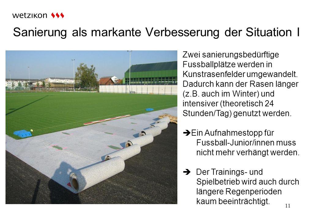 Sanierung als markante Verbesserung der Situation I 11 Zwei sanierungsbedürftige Fussballplätze werden in Kunstrasenfelder umgewandelt.