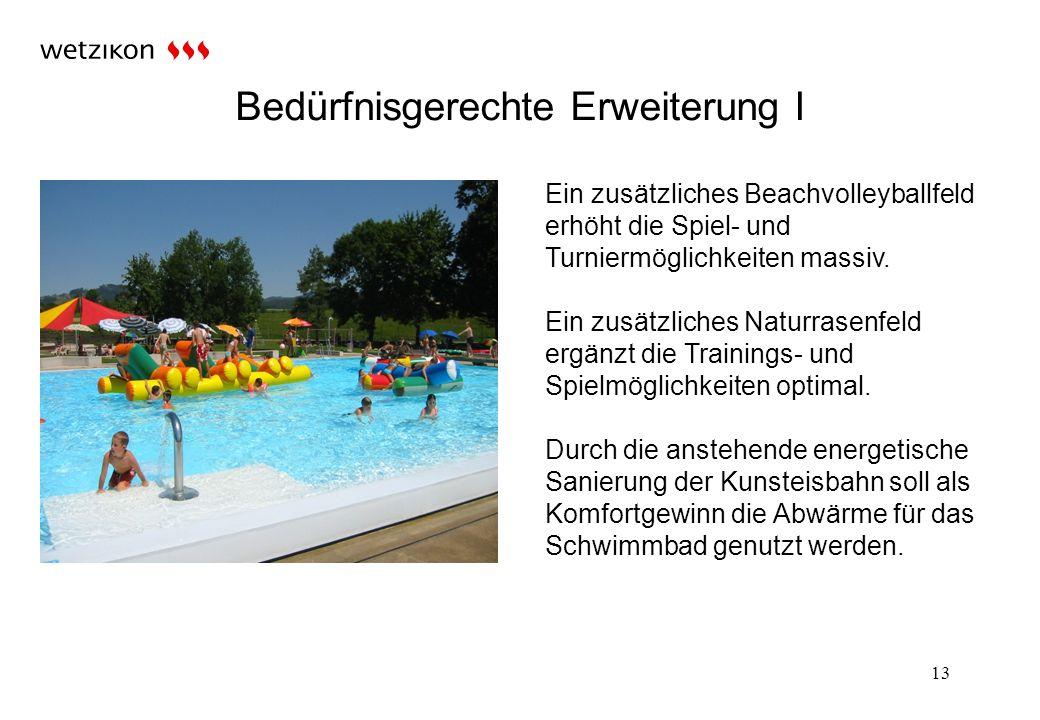 Bedürfnisgerechte Erweiterung I 13 Ein zusätzliches Beachvolleyballfeld erhöht die Spiel- und Turniermöglichkeiten massiv.