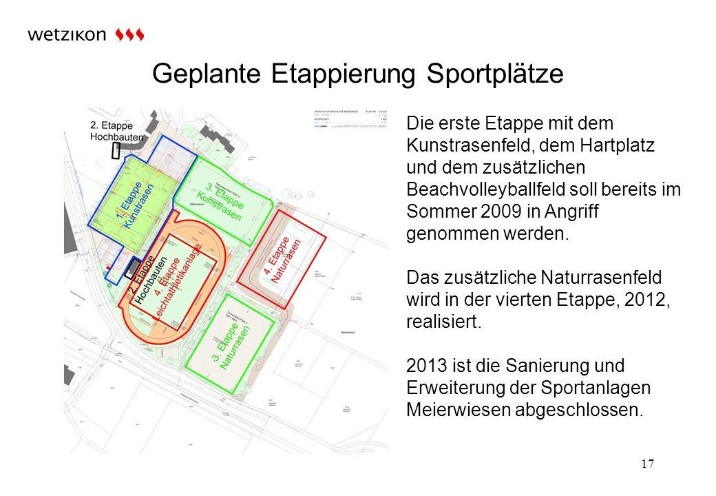 Geplante Etappierung Sportplätze 17 Die erste Etappe mit dem Kunstrasenfeld, dem Hartplatz und dem zusätzlichen Beachvolleyballfeld soll bereits im Sommer 2009 in Angriff genommen werden.