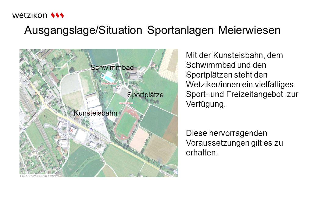 Ausgangslage/Situation Sportanlagen Meierwiesen Sportplätze Mit der Kunsteisbahn, dem Schwimmbad und den Sportplätzen steht den Wetziker/innen ein vielfältiges Sport- und Freizeitangebot zur Verfügung.