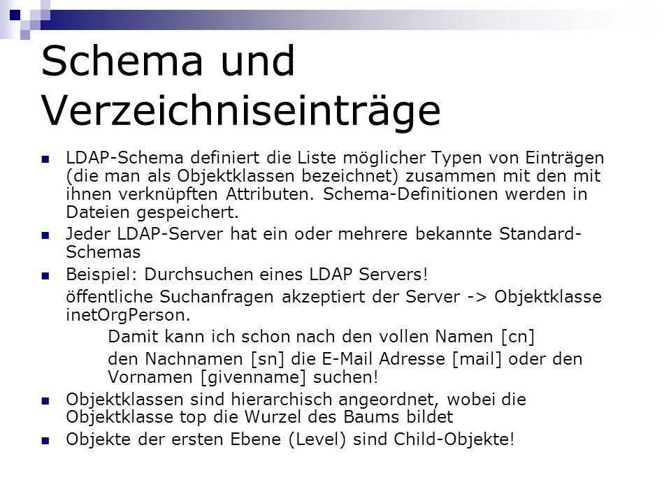 Schema und Verzeichniseinträge LDAP-Schema definiert die Liste möglicher Typen von Einträgen (die man als Objektklassen bezeichnet) zusammen mit den mit ihnen verknüpften Attributen.