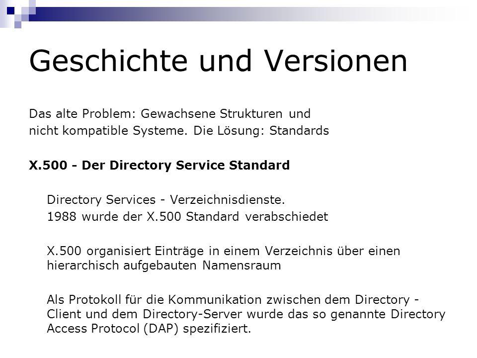 Geschichte und Versionen Das alte Problem: Gewachsene Strukturen und nicht kompatible Systeme. Die Lösung: Standards X.500 - Der Directory Service Sta