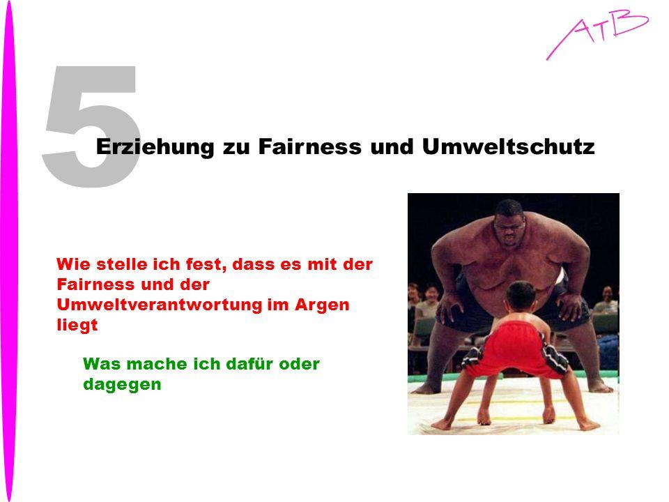 5 Erziehung zu Fairness und Umweltschutz Wie stelle ich fest, dass es mit der Fairness und der Umweltverantwortung im Argen liegt Was mache ich dafür