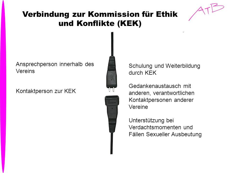 Verbindung zur Kommission für Ethik und Konflikte (KEK) Ansprechperson innerhalb des Vereins Kontaktperson zur KEK Schulung und Weiterbildung durch KE