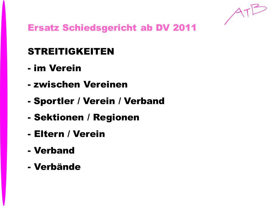 Ersatz Schiedsgericht ab DV 2011 STREITIGKEITEN - im Verein - zwischen Vereinen - Sportler / Verein / Verband - Sektionen / Regionen - Eltern / Verein