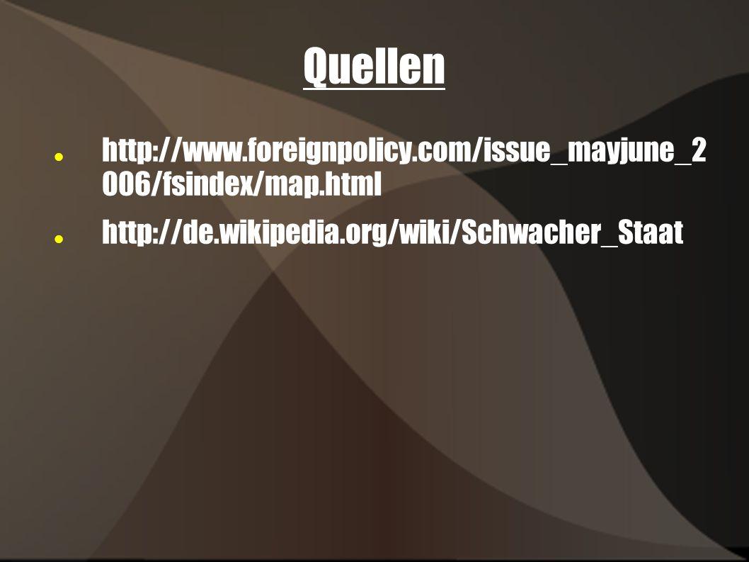 Quellen http://www.foreignpolicy.com/issue_mayjune_2 006/fsindex/map.html http://de.wikipedia.org/wiki/Schwacher_Staat