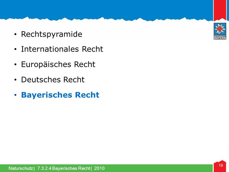 Naturschutz | 18 Internationales Recht Rechtspyramide Europäisches Recht Deutsches Recht Bayerisches Recht 7.3.2.4 Bayerisches Recht | 2010