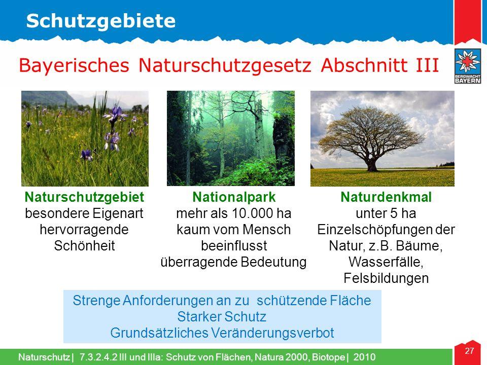 Naturschutz | 27 Naturschutzgebiet besondere Eigenart hervorragende Schönheit Nationalpark mehr als 10.000 ha kaum vom Mensch beeinflusst überragende Bedeutung Naturdenkmal unter 5 ha Einzelschöpfungen der Natur, z.B.